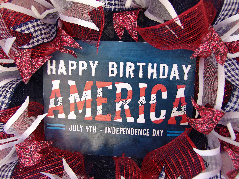 Happy Birthday America 4th Patriotic Wreath Front Door Decor Deco Mesh