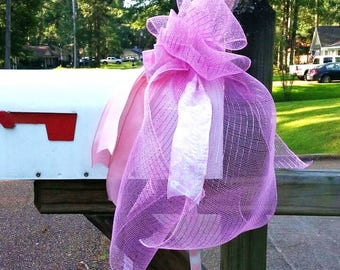 Mailbox Bow, It's a Girl bow, baby shower gift bow, birth announcement, baby birth decor, hospital bow, baby mailbox bow, wreath accessory