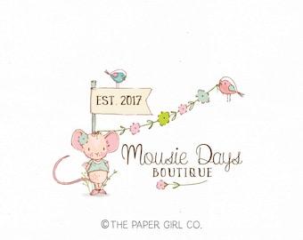 mouse logo bird logo party logo children's logo baby logo boutique logo photography logo florist logo crochet logo sewing logo knitting logo