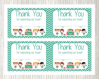 cookie fundraiser chevron thank you notecards personalized