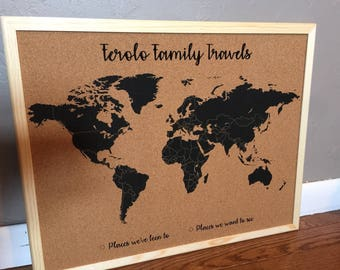 Corkboard map etsy customized world map corkboard gumiabroncs Choice Image