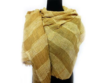 Yellow Lightweight Scarf, Fall Autumn Scarf, Striped Scarf, Light Yellow Scarf, Long Yellow Pashmina, Gift for Girlfriend, Striped Shawl