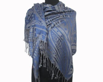 Blue Scarf, Christmas Gifts for Women, Pashmina Scarf, Damask Shawl, Fashion Boho Shawl, Fashion Floral Shawl, Blue Gifts for Women