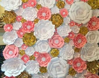 60 Piece paper flower backdrop, wall decor, wedding, bridal shower, baby shower, nursery, children's room