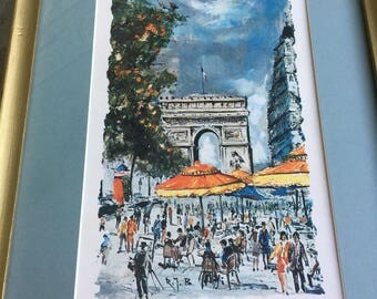 Vintage Paris France print - arc de triumph - mid century french chic print - Les Champs Elysees - french print framed - vintage matted