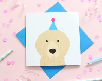 Birthday Golden Retriever Card