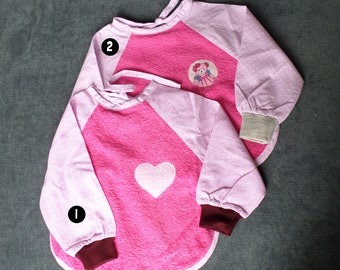 Bavoir à manches fait main rose 6/12 mois- handmade bib with sleeves pink 6/12 months