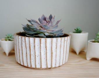 Ready to Ship | Palisades White Planter. Handmade ceramic planter.