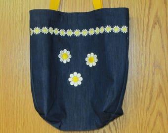 Daisy book bag, tote bag, beach bag, hand bag, denim fabic bag, shoulder bag, baby bag, shopping bag, tote, purse