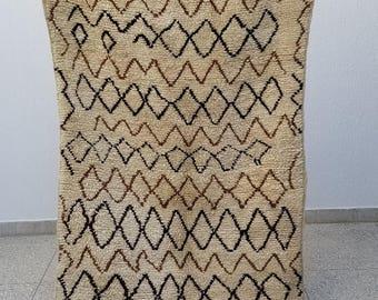 Authentic High Quality Azilal Moroccan Berber Rug Wool 8u00272 X 4u0027 Beni Ourain