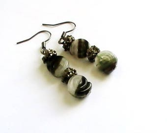 Stone earrings natural snail