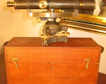 Antique Edwardian Vintage Pine Cased Brass Surveyors Theodolite W.F. Stanley London England  C1912