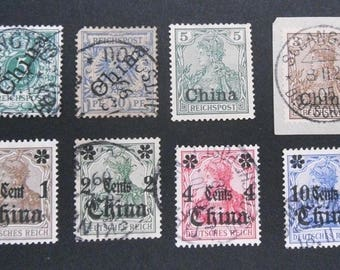 German Empire in China-Tsingtao-Kiautschou-Shanghai-8 stamps-German Empire-postage stamps