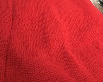 New hand knitted red woollen baby blanket 22x26 inches