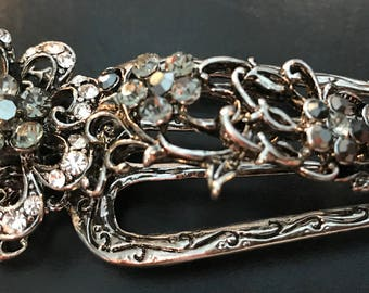 New  Antique Silver With Smoke Gray And Iridescenr Floral Crystal 4 1/2'' Alligator Claw Clip