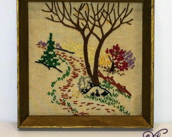 Vintage Framed Embroidery Trees and Meadow Crewel Trees in the Meadow Picture 6 by 6