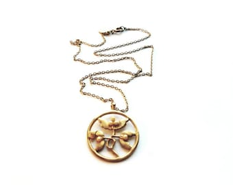 CLEARANCE  Vintage AVON Gold with Circle Flower Pendant Necklace