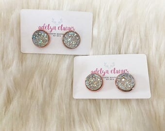 14 mm Funfetti Clear Druzy Earrings Studs // Rose Gold or Silver Setting