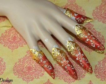 Fantasy Claws (gold/ orange/red tips)