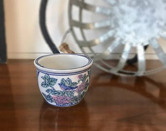 FREE SHIPPING | Vintage Planter | Blue White and Pink | Planter Pot | Porcelain