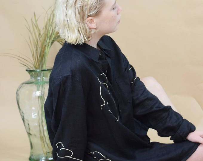 oversized black audrey blouse.