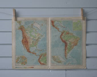 1950 Vintage Map of the Americas