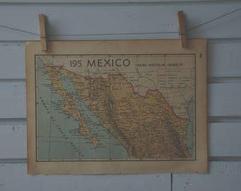 1941 Vintage North Mexico Map