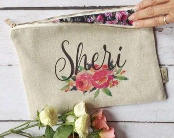 Bridesmaid Cosmetic Bag - Personalized Cosmetic Bag - Large Cosmetic Bag - Make up Bag - Gift for Daughter - Makeup Bag - Custom Makeup Bag