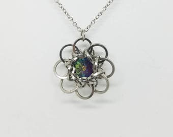 Celtic Rosette 9 Stainless Steel Chainmaille Pendant with Crystal Vitrail Light Swarovski Rivoli