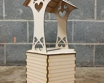 XL *Personalised* Wedding Wishing Well - Flat Pack Unpainted MDF for Cards