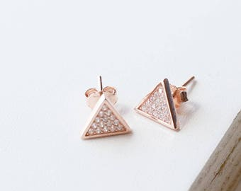 E1084 - New Sterling Silver Rose Gold Triangle Pave Stud Earrings
