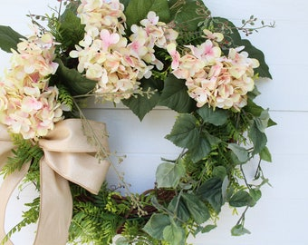 Summer Wreath for Front Door, Hydrangea Wreath with Bow, Rustic Grapevine Wreath, Spring Wreath, Everyday Wreath, Door Wreath for Summer