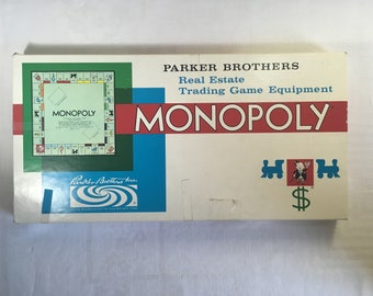 Monopoly Board Game Vintage 1961 Parker Brothers Inc., Real Estate Trading Game, Missing 1 Community Chest Card otherwise complete