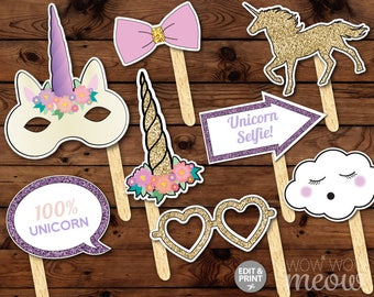 Unicorn Photo Props 50 Items + Sign INSTANT DOWNLOAD Birthday Unicorns Glitter Selfie Rainbow Party Pink Display Take Snaps Printable Booth