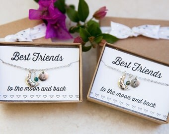 Best Friend Necklaces, To the Moon and Back, Personalized Best Friend Necklace, Initial Necklace, BFF Gift, Set of 2 necklaces, Friendship