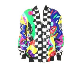 RARE Abstract Pop Art Abstract Zip Jacket Laurence Kazar