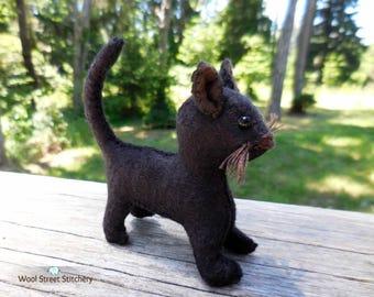 Black cat, handmade cat, Halloween cat, stuffed animal cat, felt kitten, felt stuffed animal