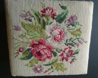 Vintage Needlepoint Wooden Sewing Box