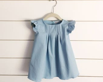 Mint blue baby dress, blue dress, mint girls dress, mint toddler dress, blue baby dress, blue girls dress, baby Easter dress, flutter sleeve