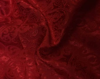 Red Hearts and Torns Design Jacquard Brocade Cotton Poly Fabric