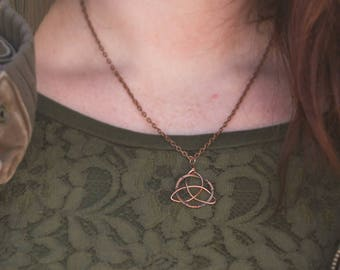 Celtic Triquetra pendant, wire wrapped from copper