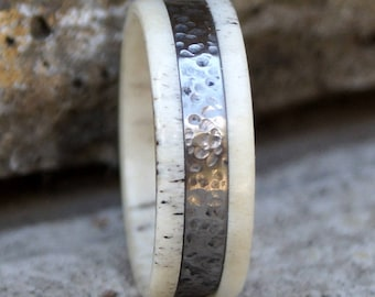 Natural deer antler and hammered titanium ring