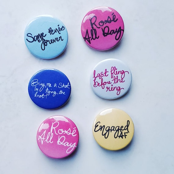 Six Assorted Hen Party Badges - Custom Badge, Hen Party, Bride to be, Tying the Knot, wedding party, rose all day, same penis forever