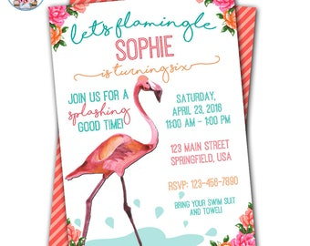 Flamingo Invitation, Flamingo Pool Party, Flamingo Party, Flamingo Birthday Party, Flamingo Party Invitation, Let's Flamingo