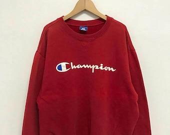 On Sale 20% Off Vintage Champion Big Logo Sweatshirt/Champion Sweater/Champion Clothing/Champion Spellout