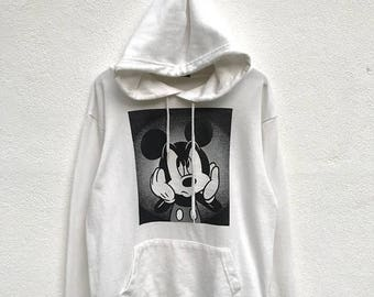 20% OFF Vintage Mickey Mouse Hoodie / Mickey Mouse Sweater / Mickey Mouse Disney / Cartoon Shirt / Mickey Mouse Big Print / Armpit 22""