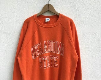 "20% OFF Vintage Oklahoma State Sweatshirt / Oklahoma State Big Logo / Armpit 24"" / Oklahoma Collage"