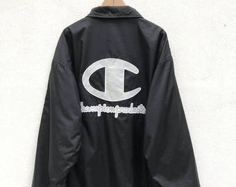 20% OFF Vintage Champion Button Jacket / Champion Sport Jacket / Champion Big Logo / Champion Windbreaker