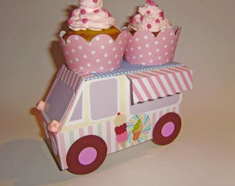 Cartonnage ice cream truck for use as a centerpiece or candy bar decoration