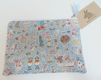 Handmade Alice In Wonderland Makeup Bag, Liberty of London, White Rabbit, Queen of Hearts fabric Padded Case or Pouch